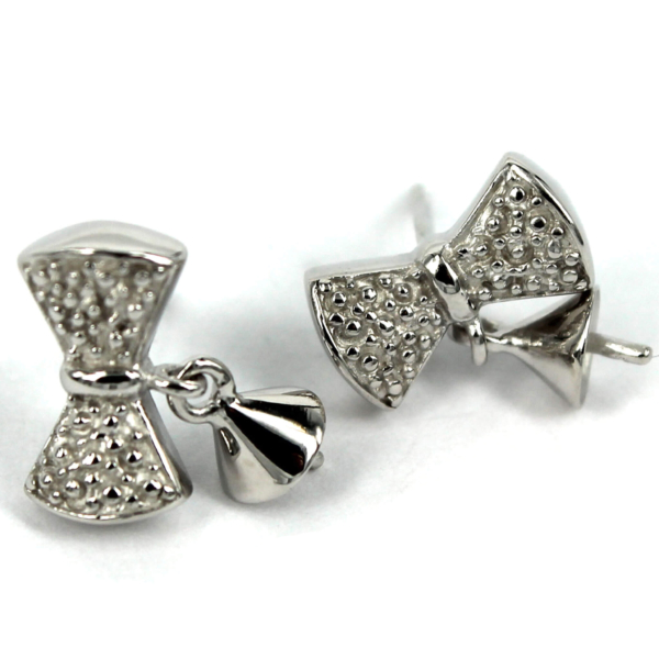 Bow Shape Ear Studs with Dangling Cup and Peg Mounting in Sterling Silver 13.9mm x 12.1mm