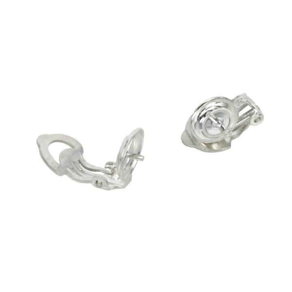 Clip-on Earrings with Domed Pad and Post in Sterling Silver 9mm-12mm