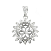 Round Cubic Zirconia Embellished Sunflower Pearl Pendant with Soldered Loop and Bail in Sterling Silver 10mm