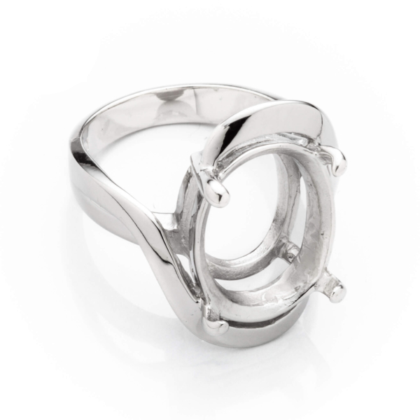 Crescent Ring with Oval Prongs Mounting in Sterling Silver 12mm x 16mm
